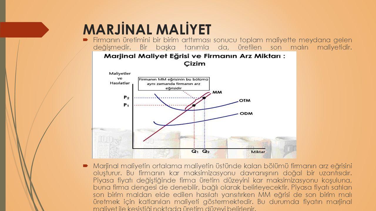 MARJİNAL MALİYET  Firmanın üretimini bir birim arttırması sonucu toplam maliyette meydana gelen değişmedir. Bir başka tanımla da, üretilen son malın