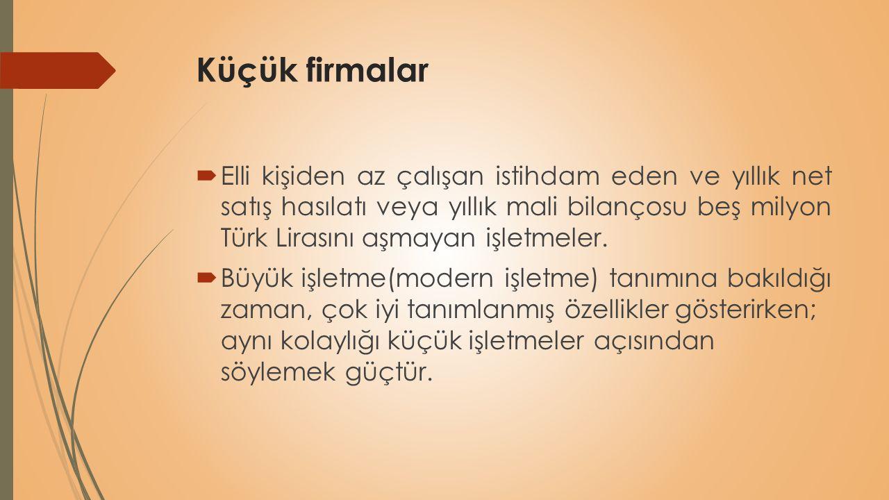 Küçük firmalar  Elli kişiden az çalışan istihdam eden ve yıllık net satış hasılatı veya yıllık mali bilançosu beş milyon Türk Lirasını aşmayan işletm