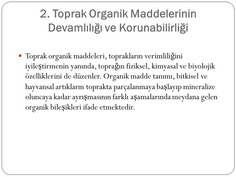 2. Toprak Organik Maddelerinin Devamlılığı ve Korunabilirliği Toprak organik maddeleri, toprakların verimlili ğ ini iyile ş tirmenin yanında, topra ğ