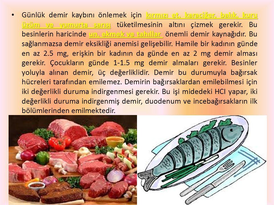 kırmızı et, karaciğer, balık, kuru üzüm ve yumurta sarısı un, ekmek ve tahıllar Günlük demir kaybını önlemek için kırmızı et, karaciğer, balık, kuru ü