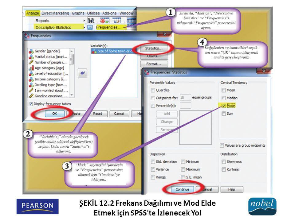 ŞEKİL 12.2 Frekans Dağılımı ve Mod Elde Etmek için SPSS te İzlenecek Yol