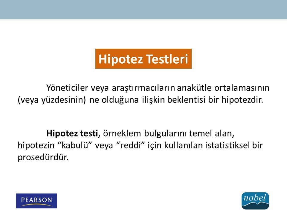 Hipotez Testleri Yöneticiler veya araştırmacıların anakütle ortalamasının (veya yüzdesinin) ne olduğuna ilişkin beklentisi bir hipotezdir.