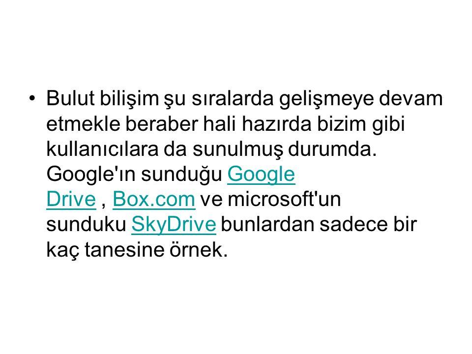 Kullanılan bazı bulutlar Dropbox Google Drive OneDrive iCloud Google Picasa Web Albums Yandex.Disk