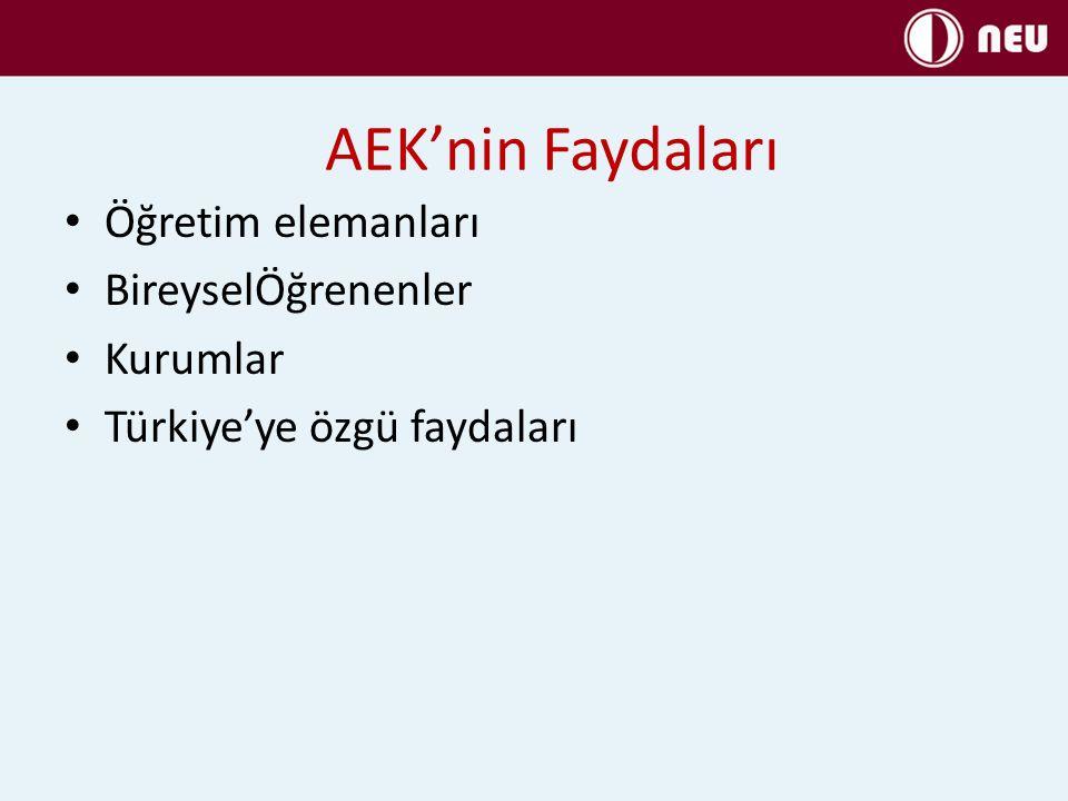 AEK'nin Faydaları Öğretim elemanları BireyselÖğrenenler Kurumlar Türkiye'ye özgü faydaları