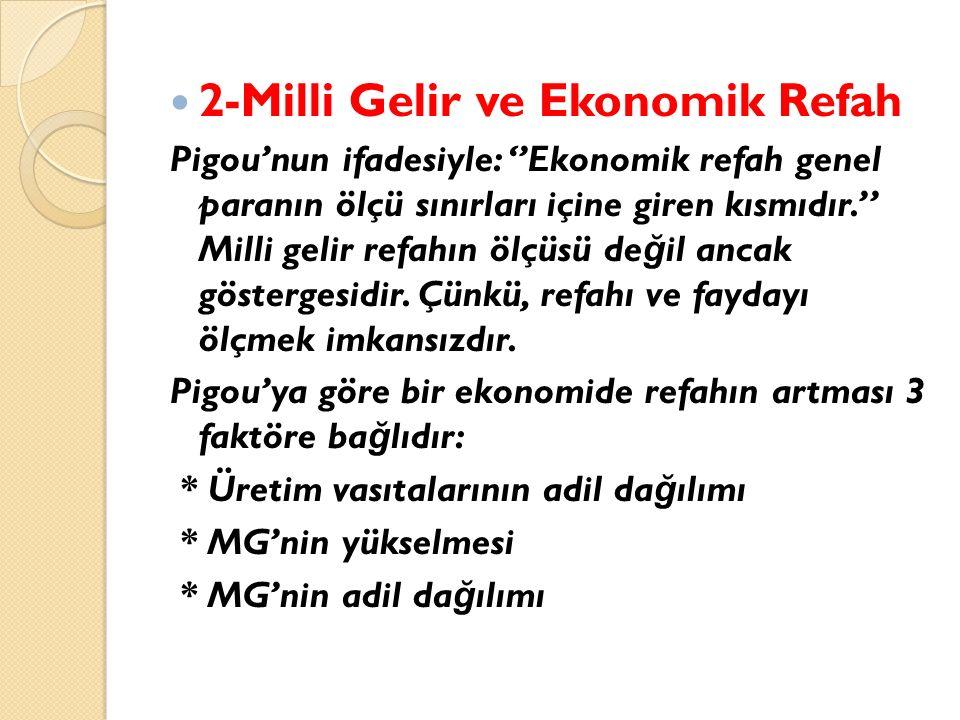 2-Milli Gelir ve Ekonomik Refah Pigou'nun ifadesiyle: ''Ekonomik refah genel paranın ölçü sınırları içine giren kısmıdır.'' Milli gelir refahın ölçüsü