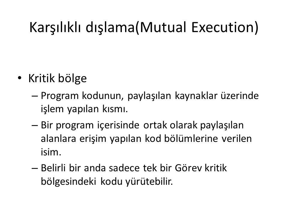 Karşılıklı dışlama(Mutual Execution) Kritik bölge – Program kodunun, paylaşılan kaynaklar üzerinde işlem yapılan kısmı. – Bir program içerisinde ortak