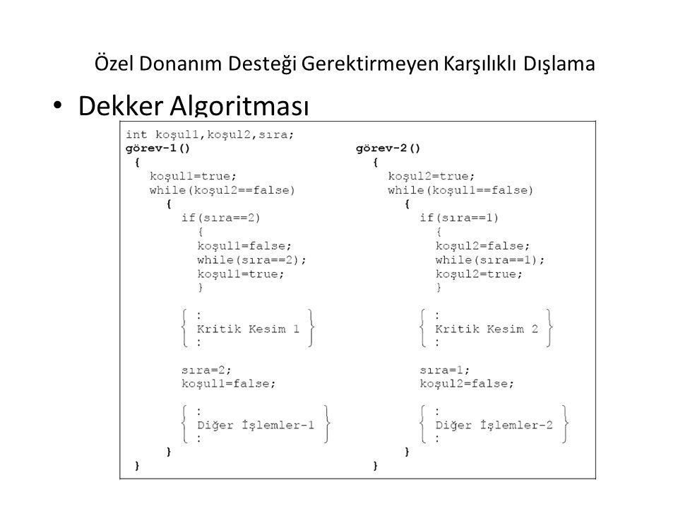 Özel Donanım Desteği Gerektirmeyen Karşılıklı Dışlama Dekker Algoritması