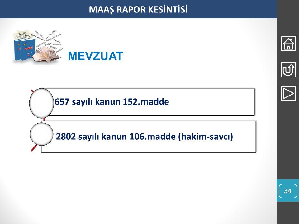 MAAŞ RAPOR KESİNTİSİ 657 sayılı kanun 152.madde 2802 sayılı kanun 106.madde (hakim-savcı) MEVZUAT 34