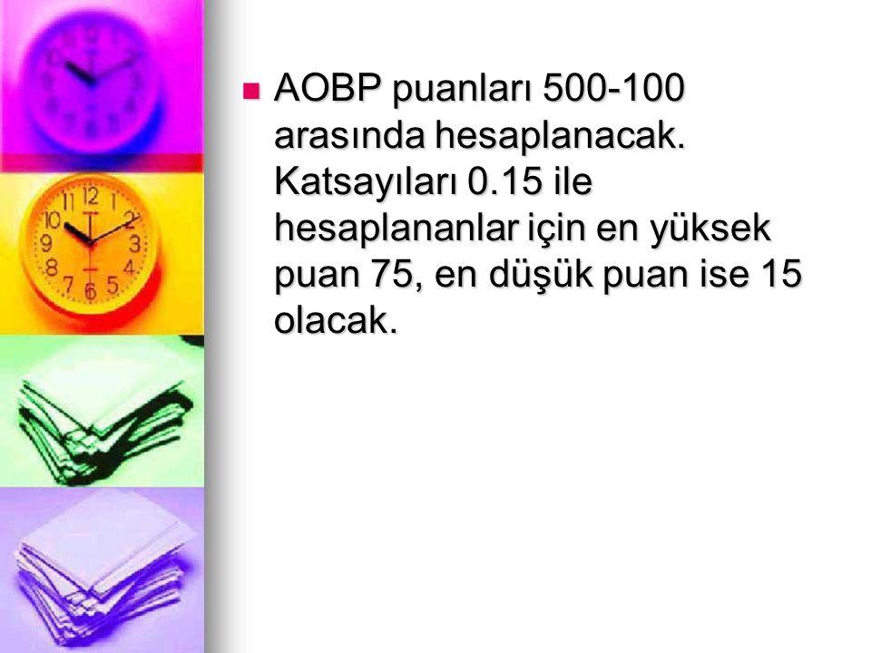AOBP puanları 500-100 arasında hesaplanacak. Katsayıları 0.15 ile hesaplananlar için en yüksek puan 75, en düşük puan ise 15 olacak. AOBP puanları 500