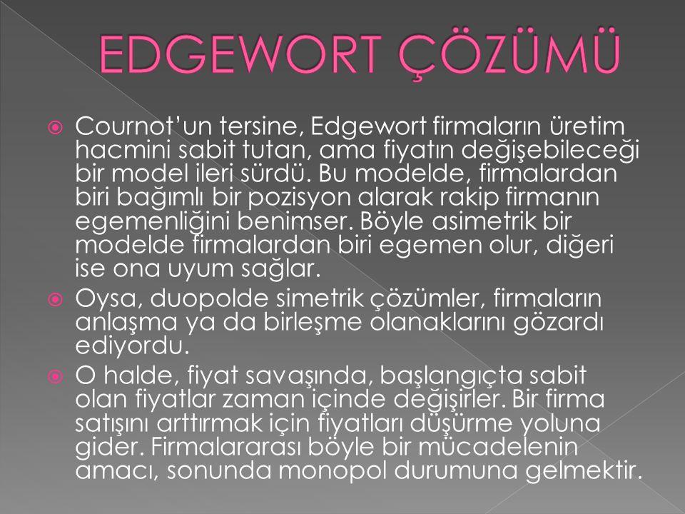  Cournot'un tersine, Edgewort firmaların üretim hacmini sabit tutan, ama fiyatın değişebileceği bir model ileri sürdü. Bu modelde, firmalardan biri b