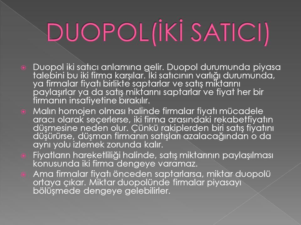  Duopol iki satıcı anlamına gelir. Duopol durumunda piyasa talebini bu iki firma karşılar. İki satıcının varlığı durumunda, ya firmalar fiyatı birlik
