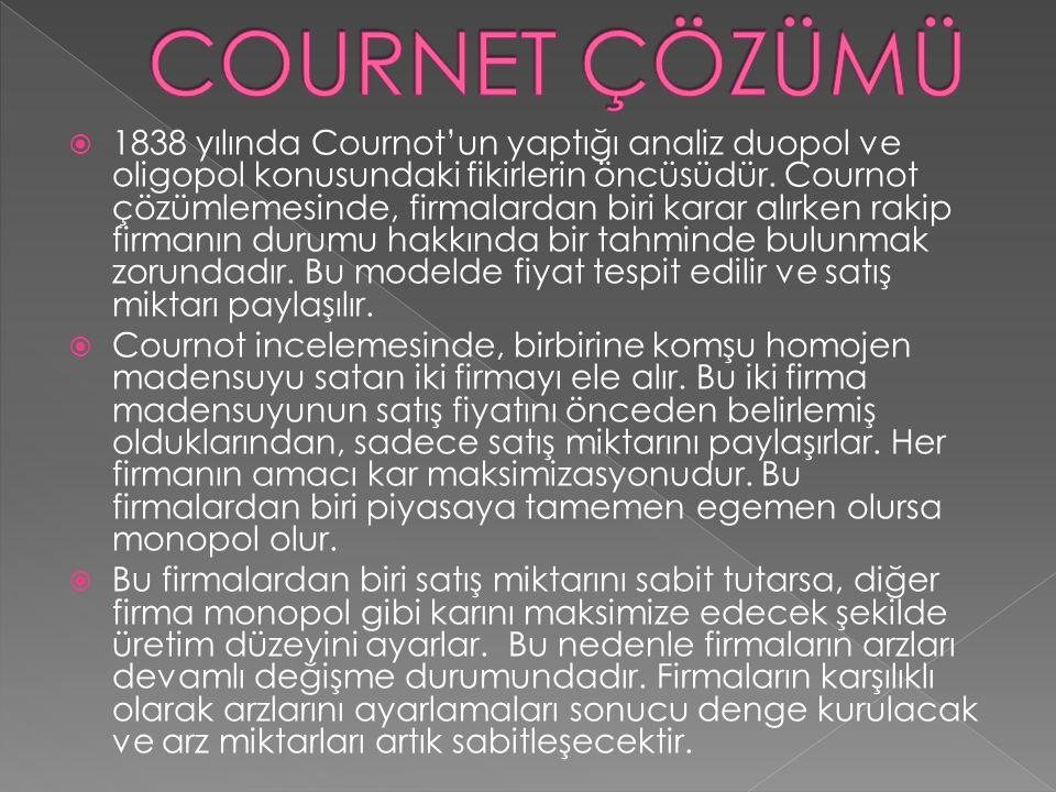  1838 yılında Cournot'un yaptığı analiz duopol ve oligopol konusundaki fikirlerin öncüsüdür. Cournot çözümlemesinde, firmalardan biri karar alırken r
