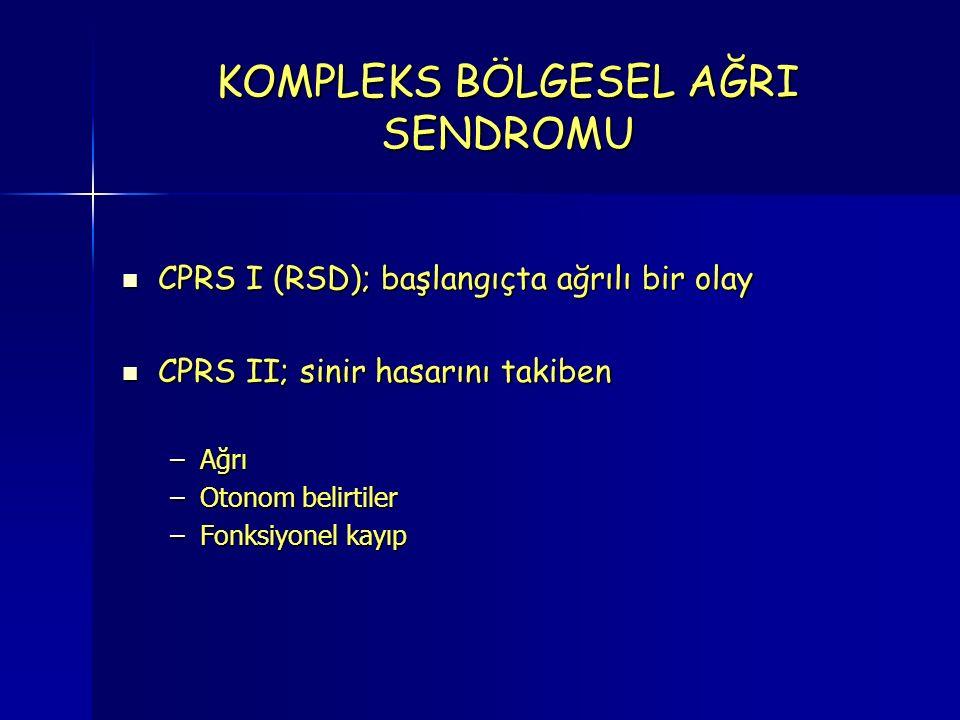 KOMPLEKS BÖLGESEL AĞRI SENDROMU CPRS I (RSD); başlangıçta ağrılı bir olay CPRS I (RSD); başlangıçta ağrılı bir olay CPRS II; sinir hasarını takiben CPRS II; sinir hasarını takiben –Ağrı –Otonom belirtiler –Fonksiyonel kayıp