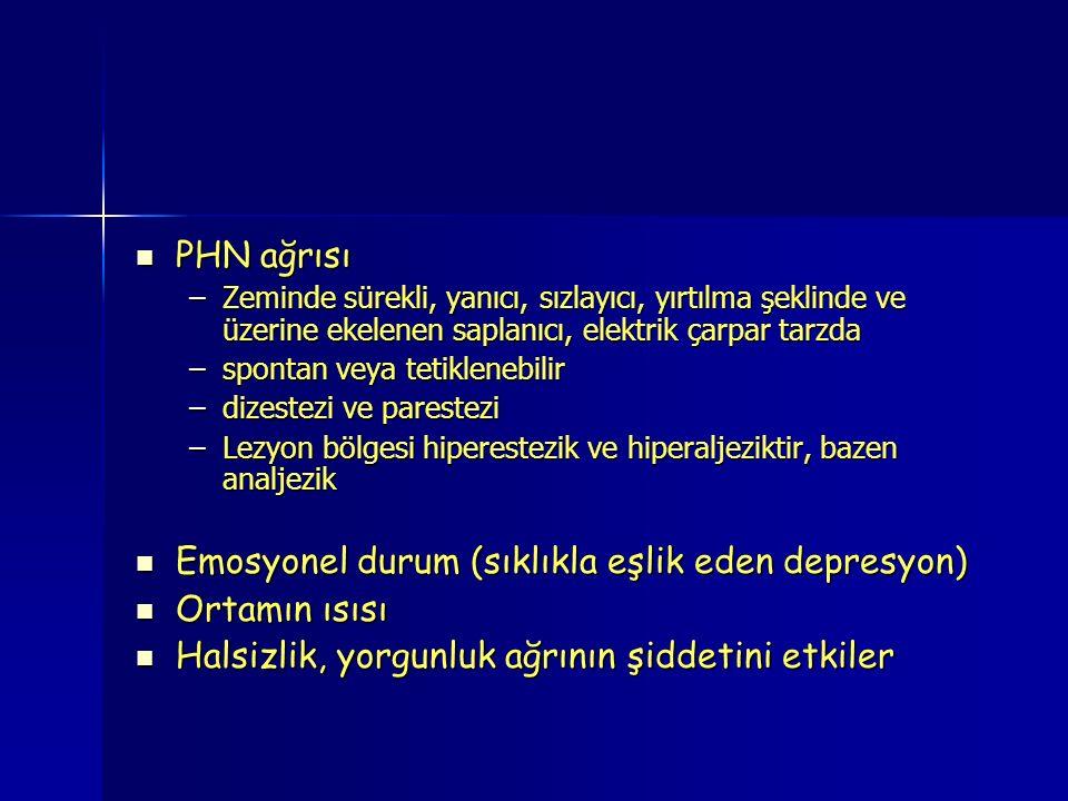 PHN ağrısı PHN ağrısı –Zeminde sürekli, yanıcı, sızlayıcı, yırtılma şeklinde ve üzerine ekelenen saplanıcı, elektrik çarpar tarzda –spontan veya tetiklenebilir –dizestezi ve parestezi –Lezyon bölgesi hiperestezik ve hiperaljeziktir, bazen analjezik Emosyonel durum (sıklıkla eşlik eden depresyon) Emosyonel durum (sıklıkla eşlik eden depresyon) Ortamın ısısı Ortamın ısısı Halsizlik, yorgunluk ağrının şiddetini etkiler Halsizlik, yorgunluk ağrının şiddetini etkiler