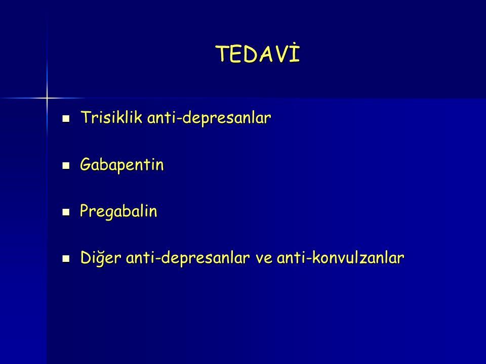 TEDAVİ Trisiklik anti-depresanlar Trisiklik anti-depresanlar Gabapentin Gabapentin Pregabalin Pregabalin Diğer anti-depresanlar ve anti-konvulzanlar Diğer anti-depresanlar ve anti-konvulzanlar