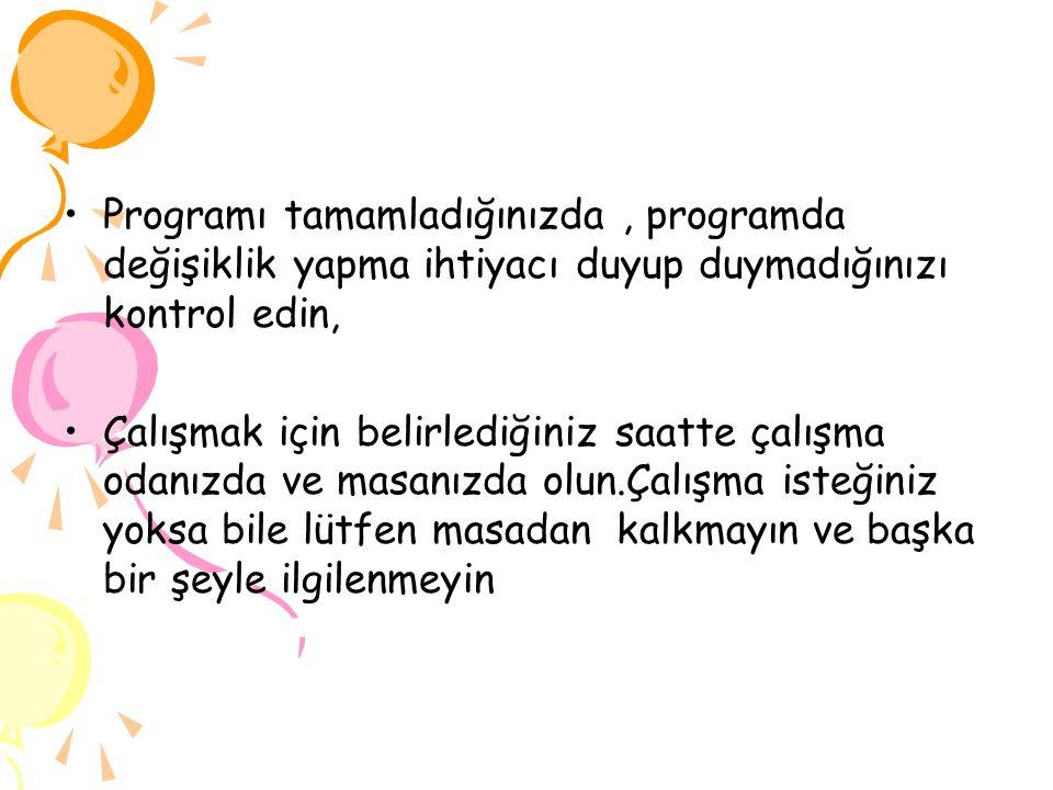 Ali KABA PROGRAM YAPILIRKEN DİKKAT EDİLMESİ GEREKENLER.