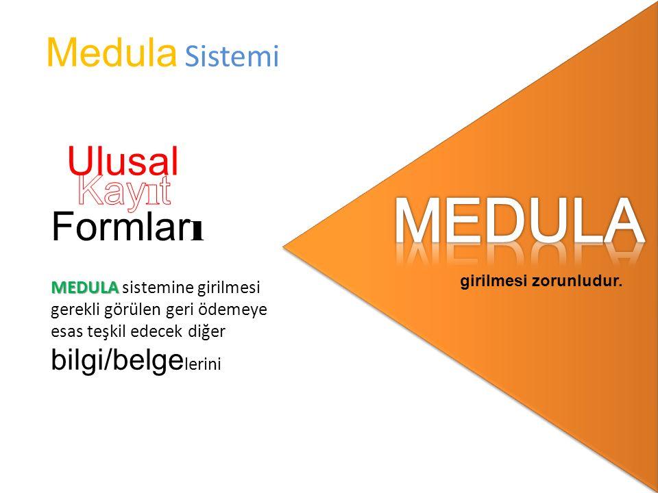 MEDULA MEDULA sistemine girilmesi gerekli görülen geri ödemeye esas teşkil edecek diğer bilgi/belge lerini girilmesi zorunludur.