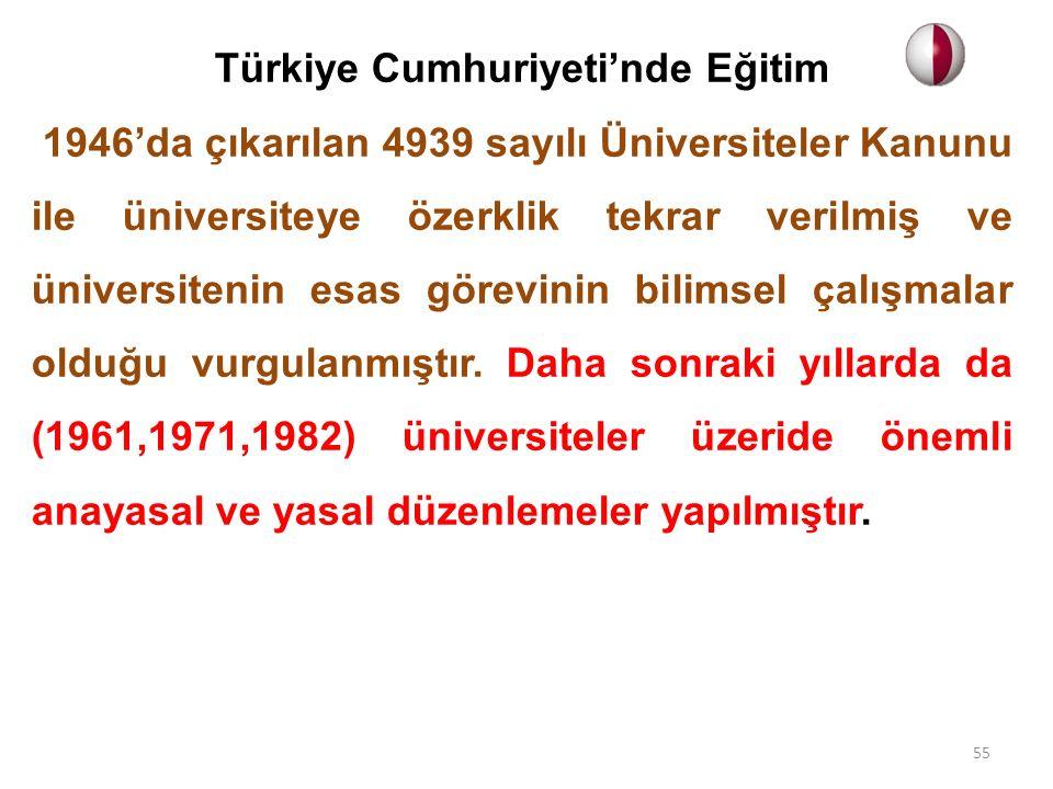 Türkiye Cumhuriyeti'nde Eğitim 1946'da çıkarılan 4939 sayılı Üniversiteler Kanunu ile üniversiteye özerklik tekrar verilmiş ve üniversitenin esas göre