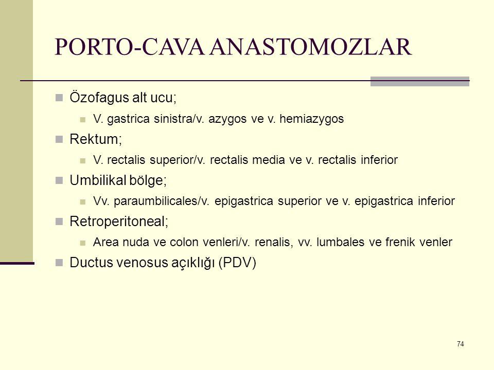 74 PORTO-CAVA ANASTOMOZLAR Özofagus alt ucu; V. gastrica sinistra/v. azygos ve v. hemiazygos Rektum; V. rectalis superior/v. rectalis media ve v. rect