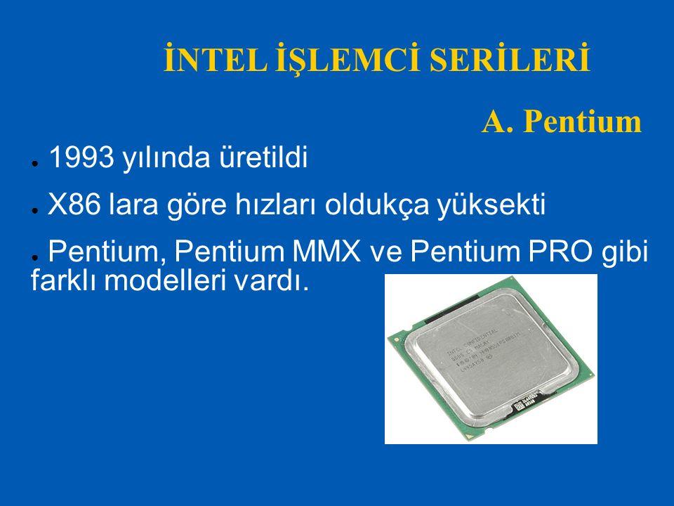 İNTEL İŞLEMCİ SERİLERİ B.Pentium II ● 1997 yılında üretildi ● Pentium MMX ve Pentium PRO nun birleştirilmiş haldir ● İlk defa slot işlemci modeli kullanılmıştır