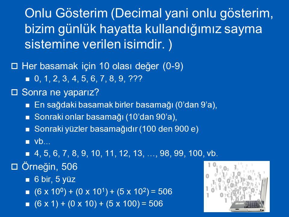 İkili (Binary) Gösterim  Her basamakta sadece 2 olası değer (0 veya 1) 0, 1, ??.