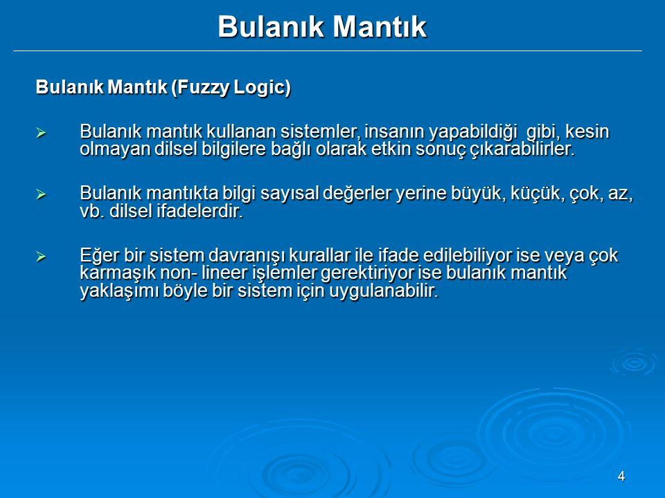 4 Bulanık Mantık Bulanık Mantık (Fuzzy Logic)  Bulanık mantık kullanan sistemler, insanın yapabildiği gibi, kesin olmayan dilsel bilgilere bağlı olar
