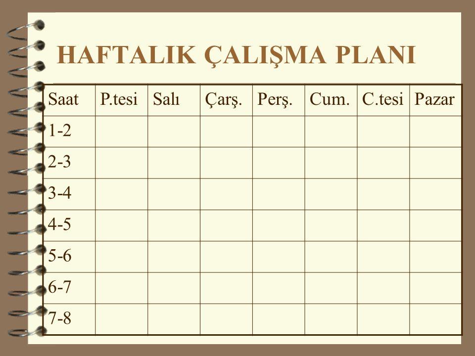 HAFTALIK ÇALIŞMA PLANI SaatP.tesiSalıÇarş.Perş.Cum.C.tesiPazar 1-2 2-3 3-4 4-5 5-6 6-7 7-8