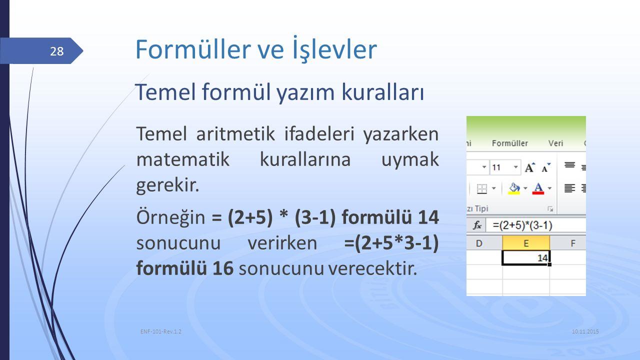 Formüller ve İşlevler 10.11.2015 ENF-101-Rev.1.2 28 Temel aritmetik ifadeleri yazarken matematik kurallarına uymak gerekir. Örneğin = (2+5) * (3-1) fo
