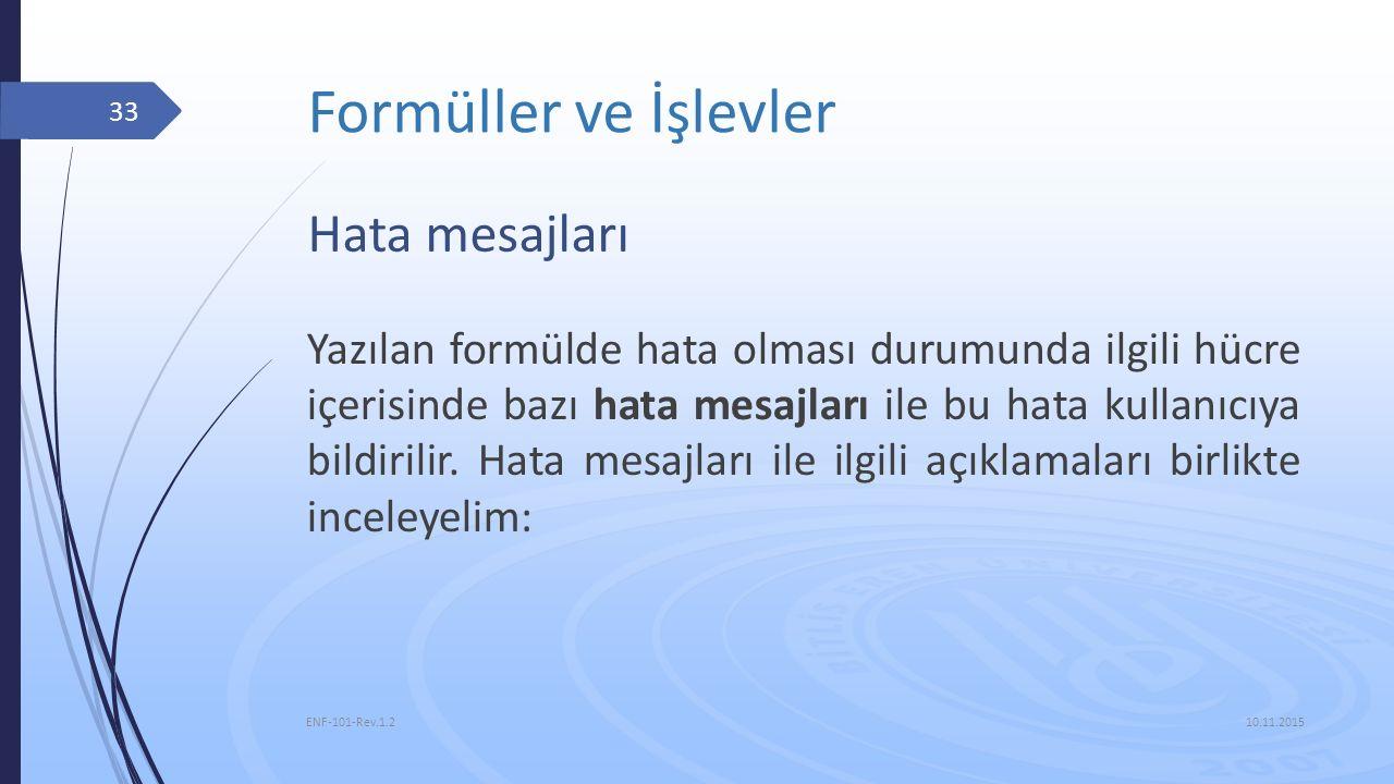 Formüller ve İşlevler 10.11.2015 ENF-101-Rev.1.2 33 Hata mesajları Yazılan formülde hata olması durumunda ilgili hücre içerisinde bazı hata mesajları