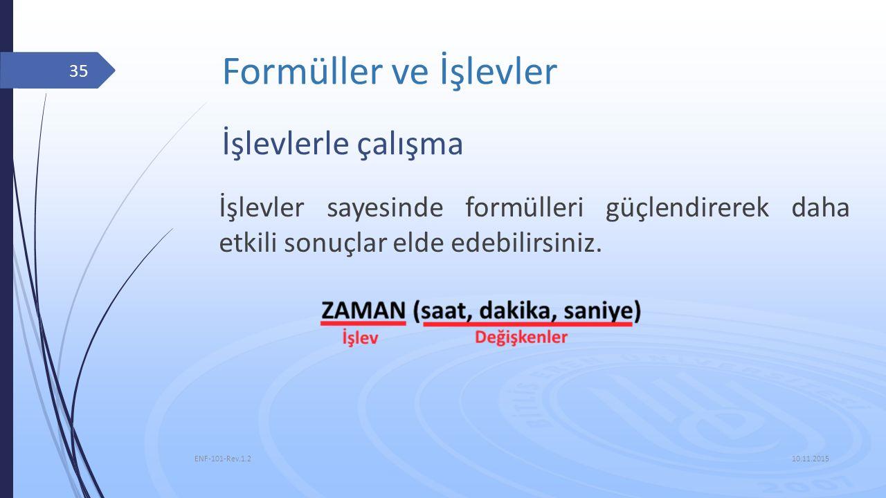 Formüller ve İşlevler 10.11.2015 ENF-101-Rev.1.2 35 İşlevlerle çalışma İşlevler sayesinde formülleri güçlendirerek daha etkili sonuçlar elde edebilirs