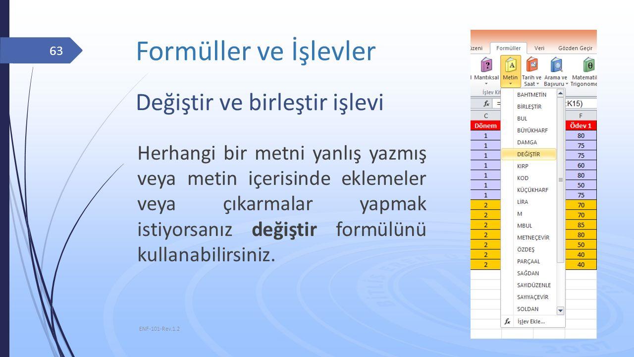 Formüller ve İşlevler 10.11.2015 ENF-101-Rev.1.2 63 Değiştir ve birleştir işlevi Herhangi bir metni yanlış yazmış veya metin içerisinde eklemeler veya