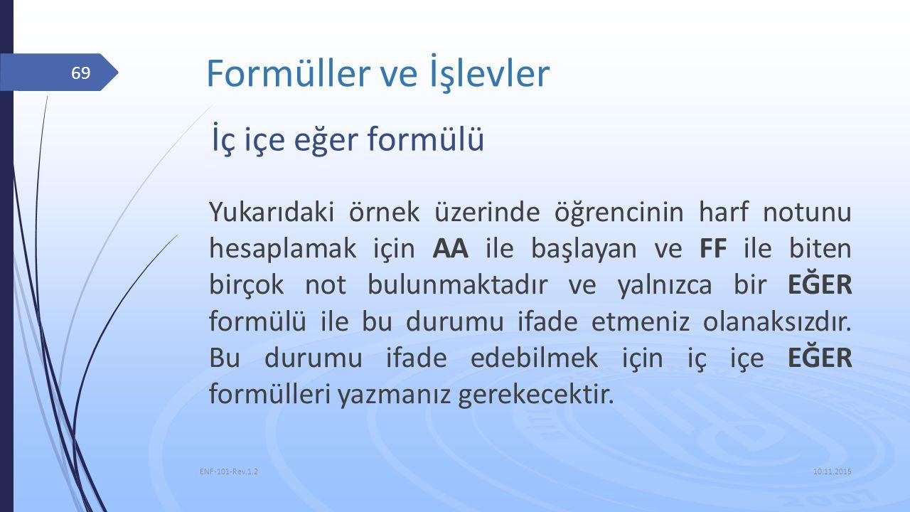 Formüller ve İşlevler 10.11.2015 ENF-101-Rev.1.2 69 İç içe eğer formülü Yukarıdaki örnek üzerinde öğrencinin harf notunu hesaplamak için AA ile başlay