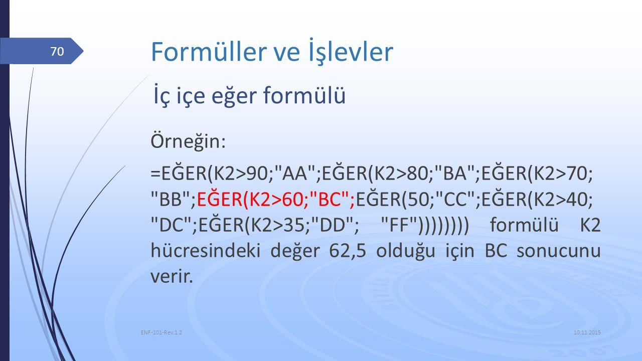 Formüller ve İşlevler 10.11.2015 ENF-101-Rev.1.2 70 İç içe eğer formülü Örneğin: =EĞER(K2>90;