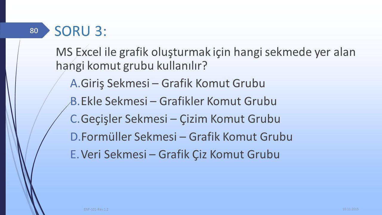 SORU 3: MS Excel ile grafik oluşturmak için hangi sekmede yer alan hangi komut grubu kullanılır? A.Giriş Sekmesi – Grafik Komut Grubu B.Ekle Sekmesi –