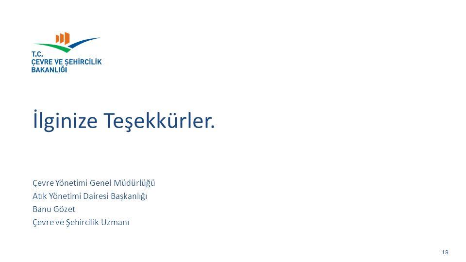 Çevre Yönetimi Genel Müdürlüğü Atık Yönetimi Dairesi Başkanlığı Banu Gözet Çevre ve Şehircilik Uzmanı İlginize Teşekkürler.