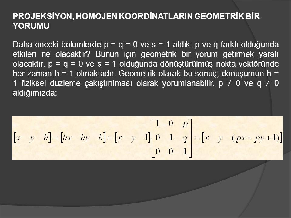 PROJEKSİYON, HOMOJEN KOORDİNATLARIN GEOMETRİK BİR YORUMU Daha önceki bölümlerde p = q = 0 ve s = 1 aldık. p ve q farklı olduğunda etkileri ne olacaktı