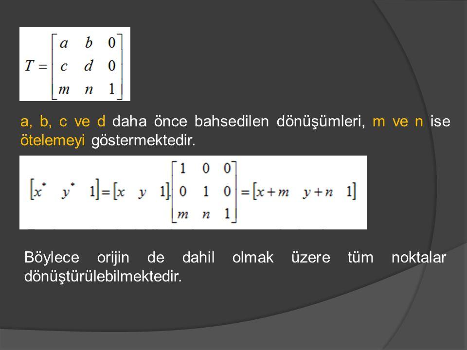 a, b, c ve d daha önce bahsedilen dönüşümleri, m ve n ise ötelemeyi göstermektedir. Böylece orijin de dahil olmak üzere tüm noktalar dönüştürülebilmek