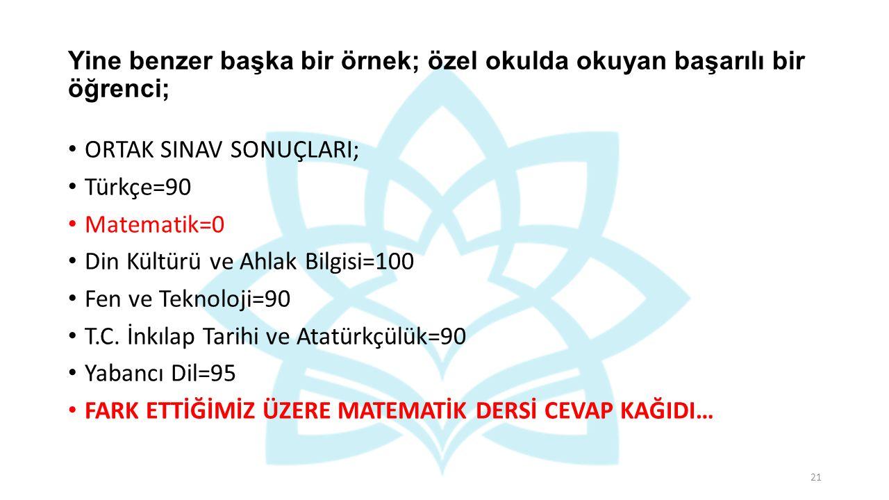 Yine benzer başka bir örnek; özel okulda okuyan başarılı bir öğrenci; ORTAK SINAV SONUÇLARI; Türkçe=90 Matematik=0 Din Kültürü ve Ahlak Bilgisi=100 Fen ve Teknoloji=90 T.C.