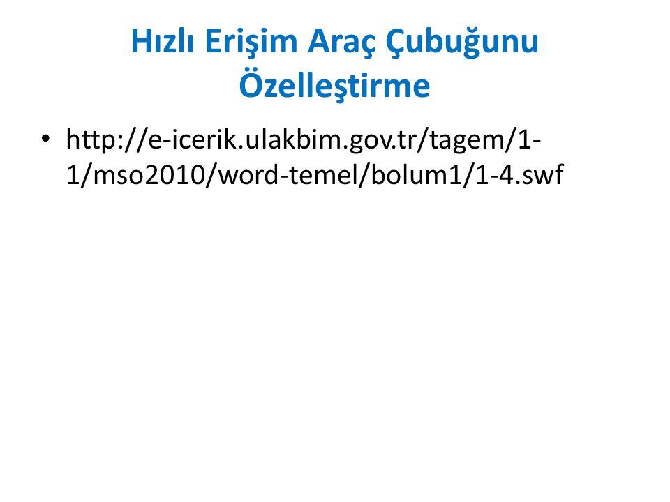 Hızlı Erişim Araç Çubuğunu Özelleştirme http://e-icerik.ulakbim.gov.tr/tagem/1- 1/mso2010/word-temel/bolum1/1-4.swf