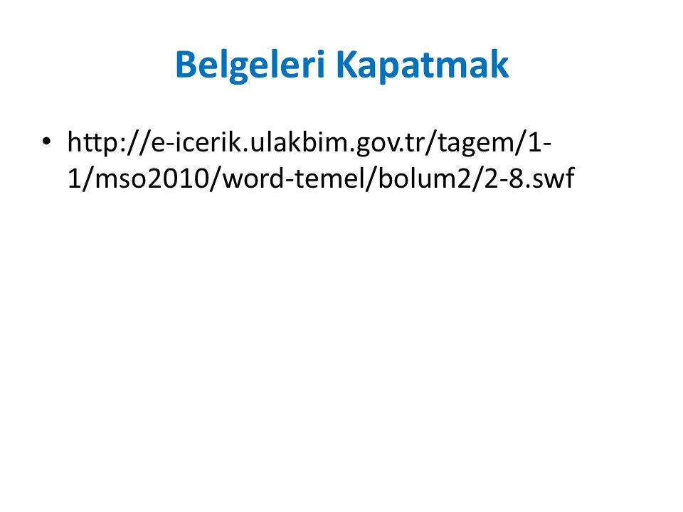 Belgeleri Kapatmak http://e-icerik.ulakbim.gov.tr/tagem/1- 1/mso2010/word-temel/bolum2/2-8.swf