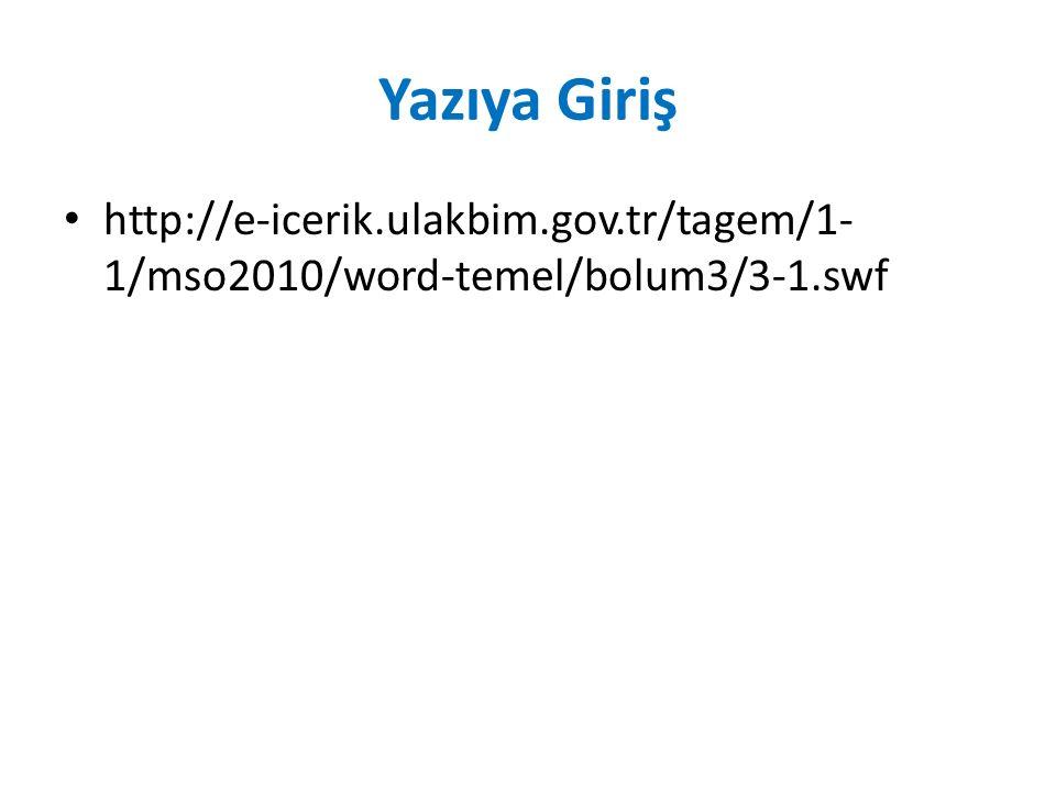 Yazıya Giriş http://e-icerik.ulakbim.gov.tr/tagem/1- 1/mso2010/word-temel/bolum3/3-1.swf