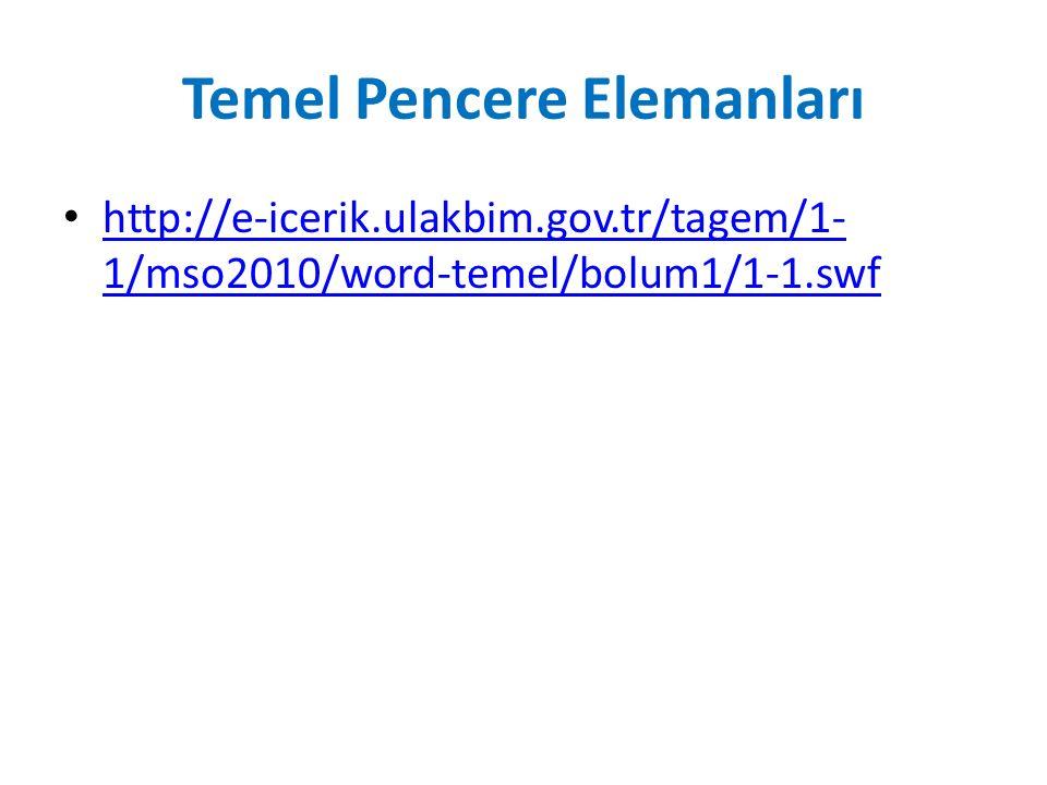 Temel Pencere Elemanları http://e-icerik.ulakbim.gov.tr/tagem/1- 1/mso2010/word-temel/bolum1/1-1.swf http://e-icerik.ulakbim.gov.tr/tagem/1- 1/mso2010