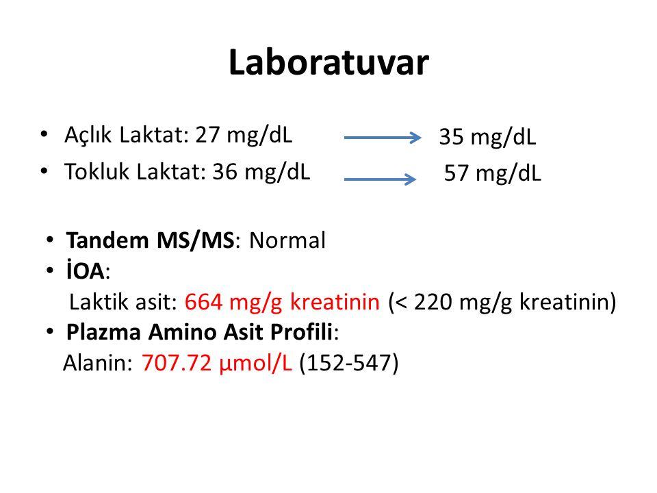 Laboratuvar Açlık Laktat: 27 mg/dL Tokluk Laktat: 36 mg/dL 35 mg/dL 57 mg/dL Tandem MS/MS: Normal İOA: Laktik asit: 664 mg/g kreatinin (< 220 mg/g kre