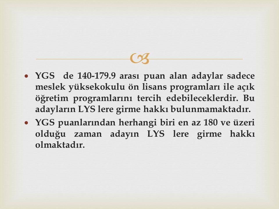   YGS de 140-179.9 arası puan alan adaylar sadece meslek yüksekokulu ön lisans programları ile açık öğretim programlarını tercih edebileceklerdir.