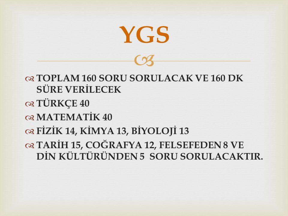   TOPLAM 160 SORU SORULACAK VE 160 DK SÜRE VERİLECEK  TÜRKÇE 40  MATEMATİK 40  FİZİK 14, KİMYA 13, BİYOLOJİ 13  TARİH 15, COĞRAFYA 12, FELSEFEDEN 8 VE DİN KÜLTÜRÜNDEN 5 SORU SORULACAKTIR.