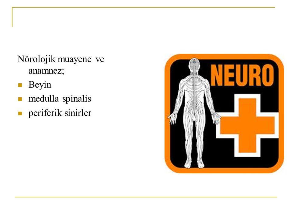 Nörolojik muayene ve anamnez; Beyin medulla spinalis periferik sinirler