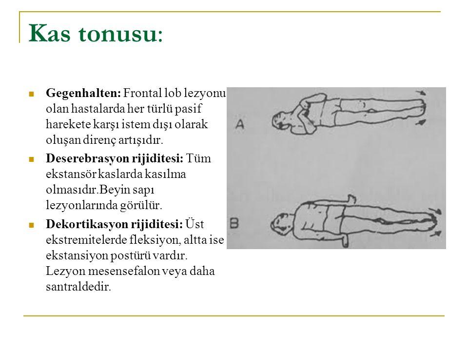 Kas tonusu: Gegenhalten: Frontal lob lezyonu olan hastalarda her türlü pasif harekete karşı istem dışı olarak oluşan direnç artışıdır. Deserebrasyon r
