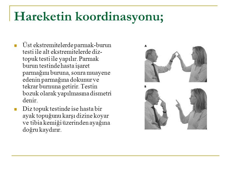 Hareketin koordinasyonu; Üst ekstremitelerde parmak-burun testi ile alt ekstremitelerde diz- topuk testi ile yapılır. Parmak burun testinde hasta işar