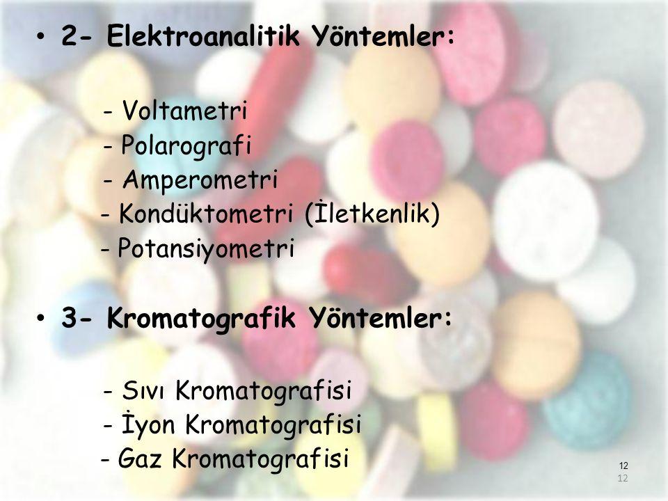 12 2- Elektroanalitik Yöntemler: - Voltametri - Polarografi - Amperometri - Kondüktometri (İletkenlik) - Potansiyometri 3- Kromatografik Yöntemler: -
