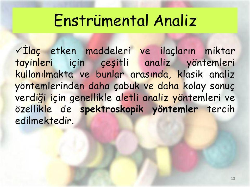 13 İlaç etken maddeleri ve ilaçların miktar tayinleri için çeşitli analiz yöntemleri kullanılmakta ve bunlar arasında, klasik analiz yöntemlerinden da